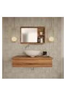 Conjunto Para Banheiro Bancada Com Espelheira City 802 Nogal