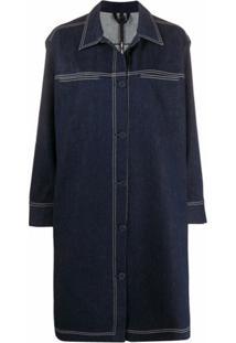 Sara Lanzi Casaco Jeans Com Abotoamento Simples - Azul