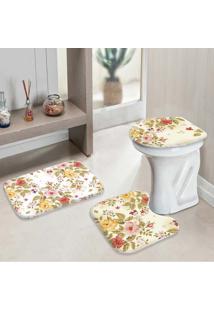 Jogo Tapetes Para Banheiro Premium Flowers