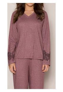 Pijama Longo Mescla Bordado Pzama (100005) Algodão