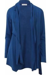 Cardigan Pau A Pique Moletinho - Feminino-Azul Royal