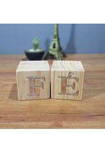Cubo Decorativo Com Letras Em Acrílico Fé
