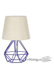 Abajur Diamante Dome Bege Com Aramado Azul
