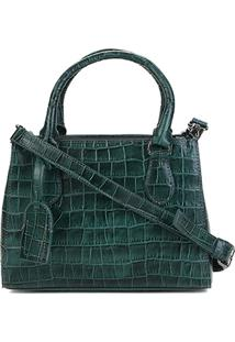 Bolsa Couro Shoestock Transversal Croco Feminina - Feminino-Verde