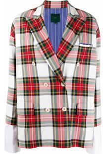 Jejia Tartan Check-Pattern Blazer - Vermelho
