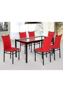 Conjunto Sala De Jantar Tokio Mesa 6 Cadeiras Art Panta Preto/Vermelho