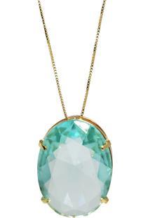 Corrente Kumbayá Com Pingente Oval Banho De Ouro 18K Cristal Azul Safira Com Corrente Veneziana