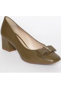 Sapato Tradicional Em Couro Com Laço & Strass- Verde Escjorge Bischoff