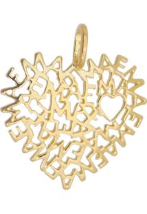 Pingente Drusi Semi Joias Coração Mãe Manuscrito Dourado