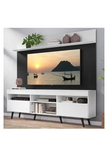"""Rack Com Painel Tv 65"""" Madri Multimóveis Branco/Preto Com Prateleira E Pés Retrô Preto"""