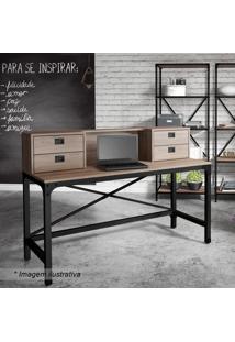 Escrivaninha Com Gavetas Steel- Arizona & Preta- 105Artesano Moveis