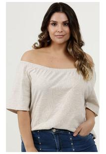 Blusa Feminina Ombro A Ombro Bordado Plus Size Marisa