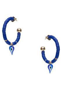 Brinco Argola Olho Grego Proteção Em Metal - Azul