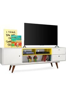 """Rack Para Tvs De Até 47"""", Branco Com Amarelo, Vintage 80 Ii"""