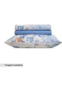Jogo De Cama Royal Queen Size- Off White & Azul- 4Pã§Santista