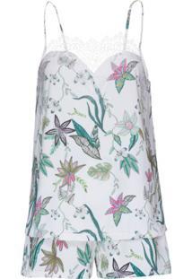 Shortdoll Liganete Zaira Floral Loungerie – Branco
