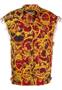 Versace Jeans Couture Leo Baroque-Print Oversized Gilet - Vermelho