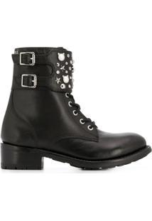 Karl Lagerfeld Ankle Boot De Couro Com Tachas - Preto