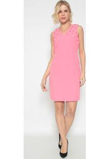 Vestido Com Pedrarias & Recortes - Rosa- Lança Perfulança Perfume