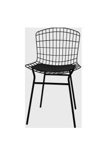 Cadeira Trama Vinil Preto/Pintada Pozza