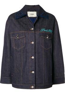 Fendi Embellished Denim Jacket - Azul