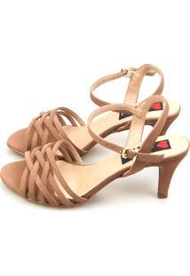 Sandália Salto Baixo Love Shoes Slim Tiras Cruzadas Marrom