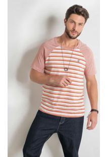 Camiseta Raglan Com Listras Laranja Actual