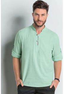 Camisa Decote V Verde