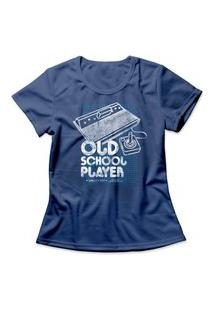 Camiseta Feminina Old School Player Azul