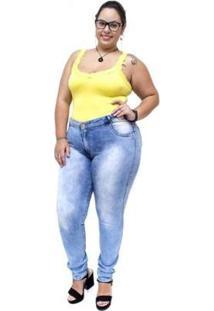 Calça Jeans Credencial Plus Size Skinny Keitty Manchada Feminina - Feminino