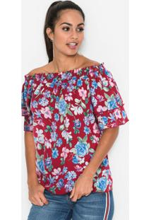 Blusa Ombro A Ombro Estampada Floral Bordô