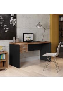 Mesa Para Computador Com Gaveteiro Studio Caemmun Lp Argan/Preto Tex