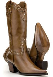 Bota Texana Couro Country Capelli Boots Feminina - Feminino-Marrom Claro