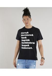 Camiseta Masculina Harry Potter Manga Curta Gola Careca Preta