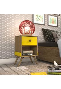 Criado Mudo 1 Gaveta Retrô Virginia Siena Móveis Imbuia Rustic/Amarelo