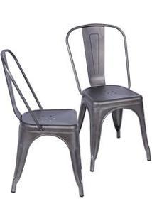 Or Design Jogo De Cadeiras De Jantar Retrã´ Bronze 2Pã§S