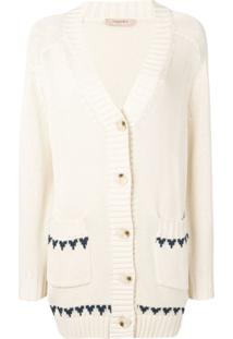 Twin-Set Cardigan Com Bordado De Borboleta - Neutro