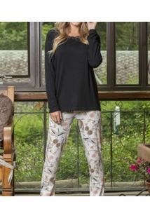 Pijama Longo Estampado Lua Cheia (9066) Viscose
