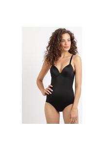 Body Modelador Feminino Dilady Zero Barriga Plus Size Com Bojo E Aro Preto