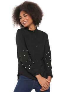 Camisa Lily Fashion Aplicações Preto