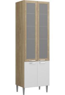 Paneleiro E Dispenseiro 4 Portas Vidro Toscana Argila E Branco-Texturizado Multimóveis