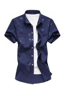 Camisa Masculina Com Estampa De Rosas - Azul Escuro