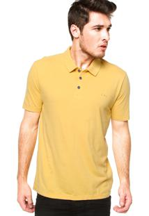 Camisa Polo Manga Curta Calvin Klein Jeans Logo Amarela