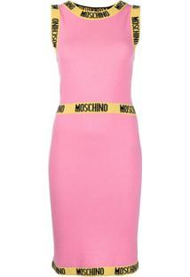 Moschino Vestido De Tricô Com Acabamento De Logo - Rosa