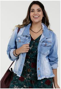 78596c861742f8 Marisa Jaqueta Azul Feminina Dosa Jeans Transversal Destroyed Tamanhos  Especiais Plus Size Com Pé Manga Longa Com Rasgos Razon