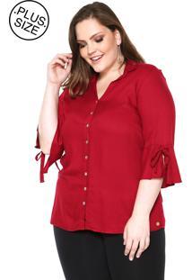 Camisa Wee! Reta Textura Plus Size Vermelha