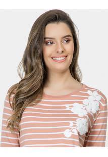 Blusa Listrada Com Bordado Malha Rosa Silice - Lez A Lez