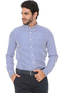 Camisa Tommy Hilfiger Slim Listrada Branca/Azul