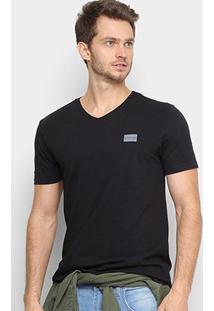 Camiseta Calvin Klein Gola V Masculina - Masculino-Preto