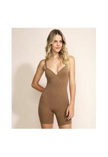 Body Macaquinho Plié Skin Modelador Com Bojo Marrom